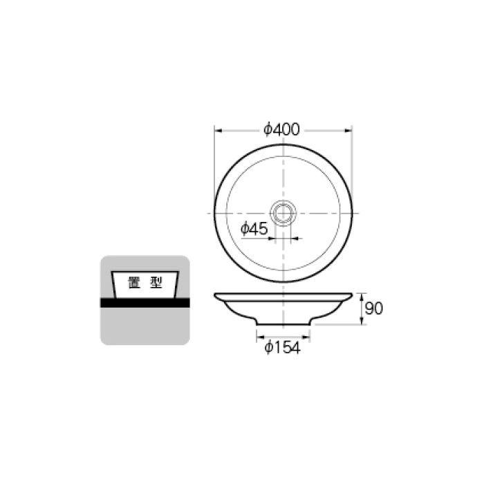 493-055-W 和風 丸型洗面器 シルク