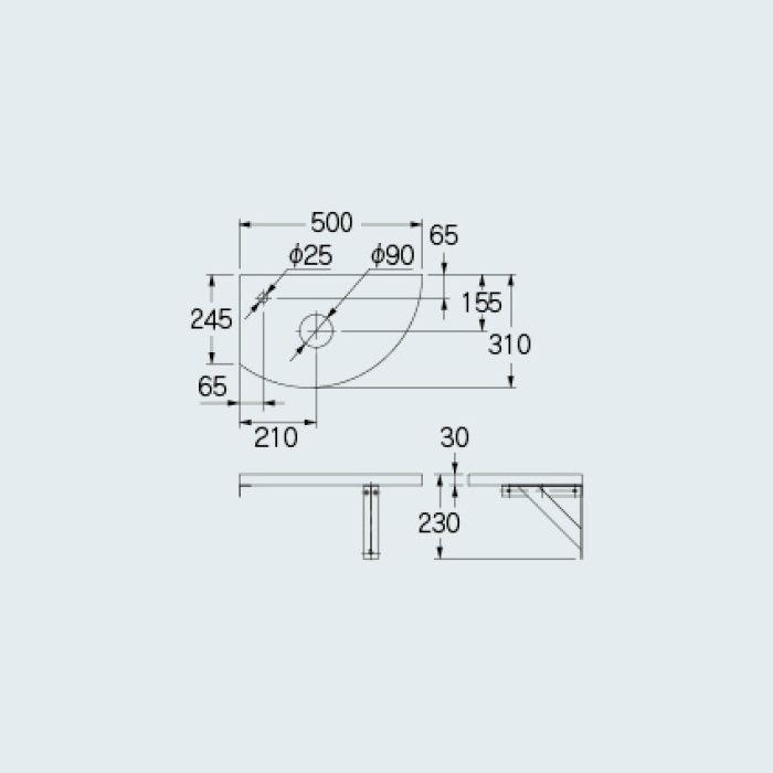 497-007-D 専用カウンター コーナーカウンター(L・R兼用タイプ) 夕霧