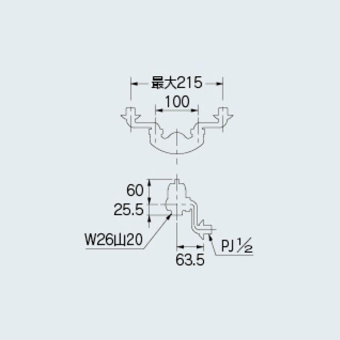 192-400 水栓本体部品 シングルレバー混合栓本体(クランクつき)