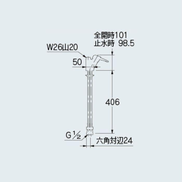 183-400K 水栓本体部品 シングルレバー混合栓本体(クランクつき)(寒冷地仕様)