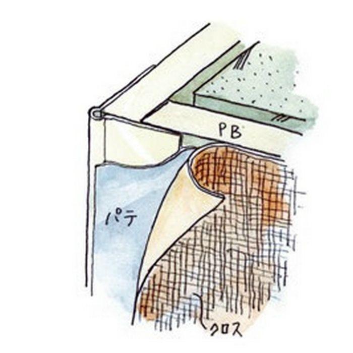 ペンキ・クロス下地材 出隅 ビニール コーナーピート28穴あき+テープ付 ミルキー 2.5m  04082-1