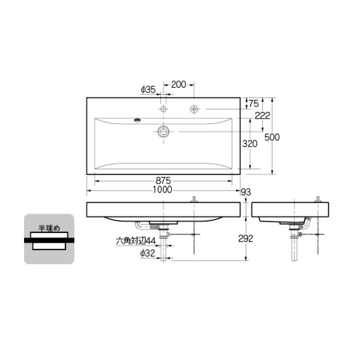 493-070-1000H カウンター設置タイプ 角型洗面器(1ホール・ポップアップ独立つまみタイプ)