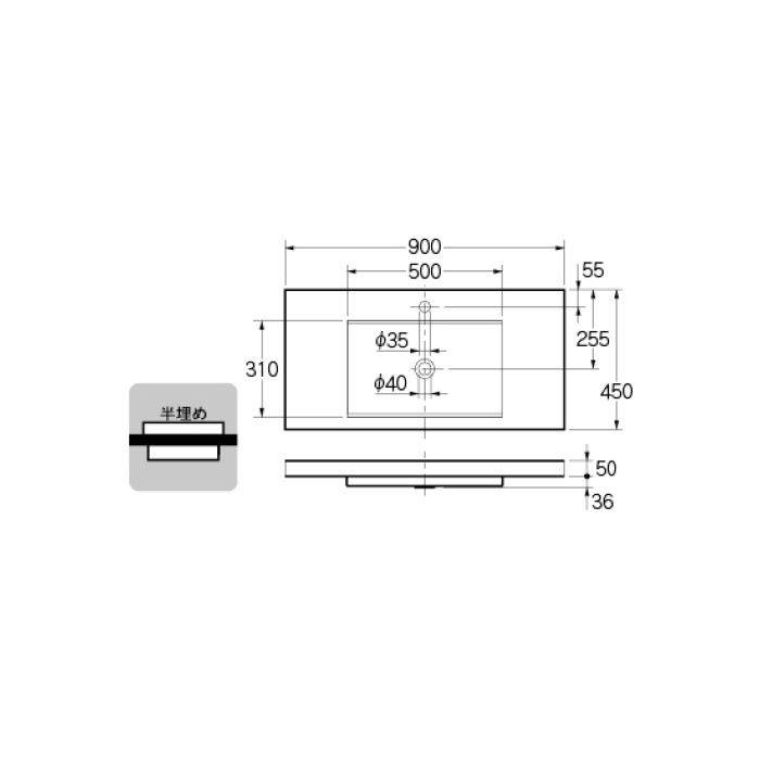493-164 カウンター設置タイプ 角型洗面器