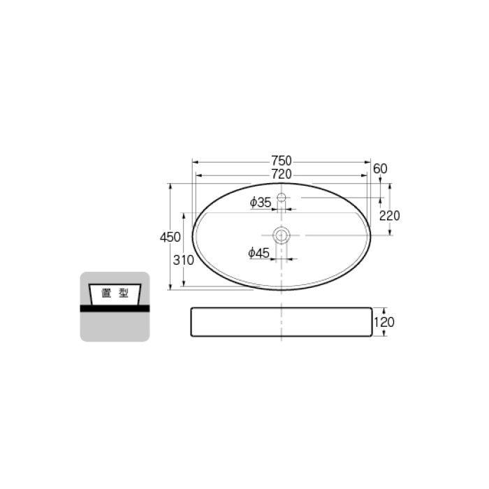 #LY-493208 カウンター設置タイプ 丸型洗面器