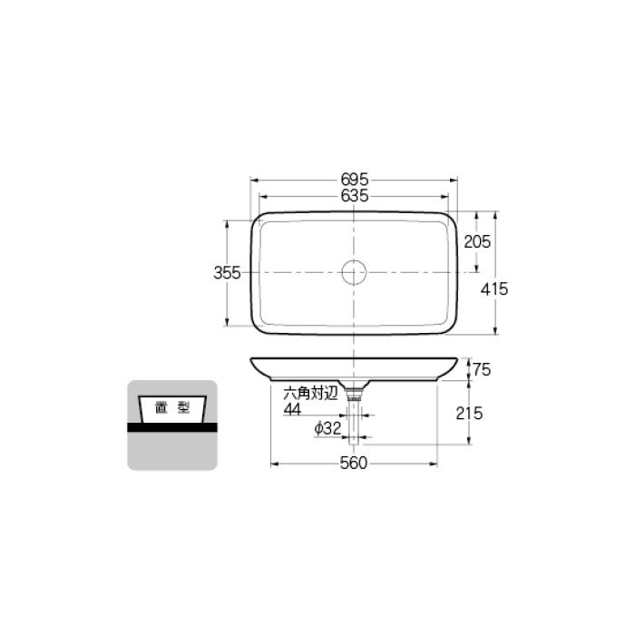 #DU-0370700000 カウンター設置タイプ 角型洗面器
