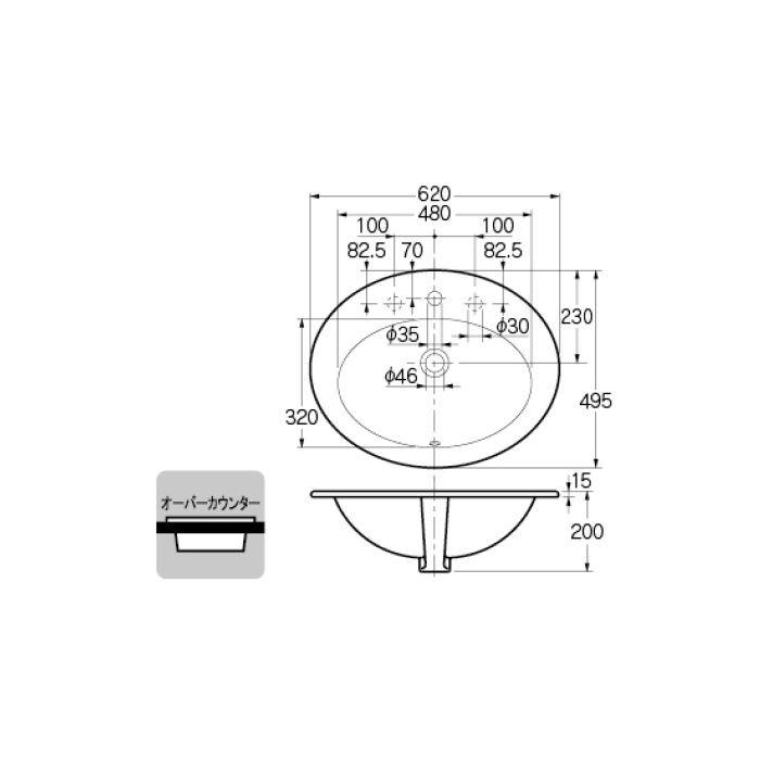 #DU-0472620000 カウンター設置タイプ 丸型洗面器(1ホール)