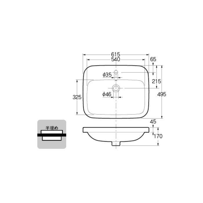 #DU-0374620000 カウンター設置タイプ 角型洗面器
