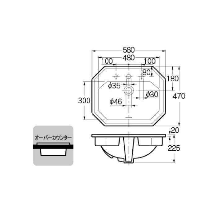 #DU-0476580000 カウンター設置タイプ 角型洗面器(1ホール)