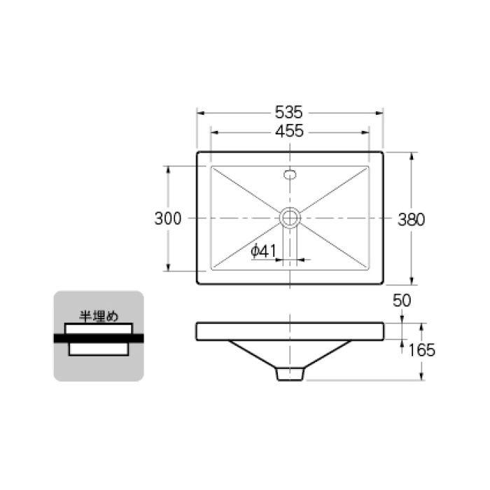 493-002 カウンター設置タイプ 角型洗面器