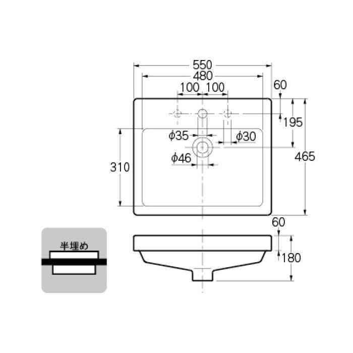 #DU-0315550030 カウンター設置タイプ 角型洗面器(3ホール)
