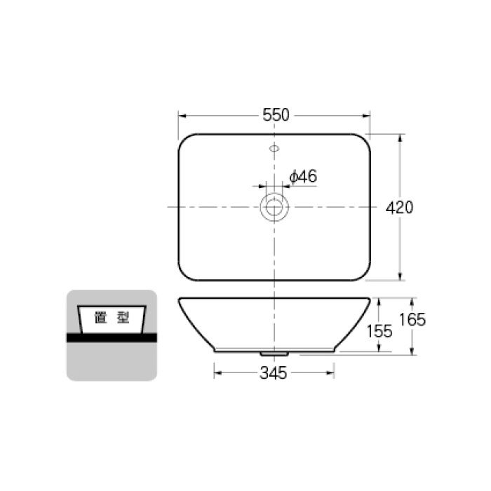 #DU-0334520000 カウンター設置タイプ 角型洗面器