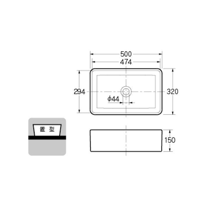 #CL-WBFC98834 カウンター設置タイプ 角型洗面器