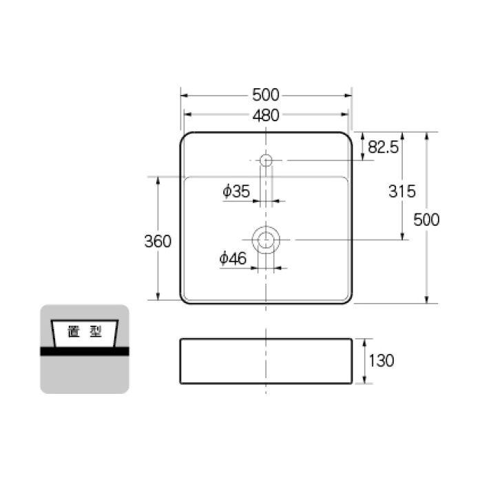 #LY-493211 カウンター設置タイプ 角型洗面器