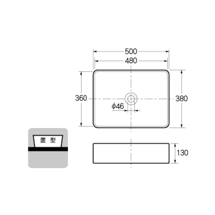 #LY-493213 カウンター設置タイプ 角型洗面器