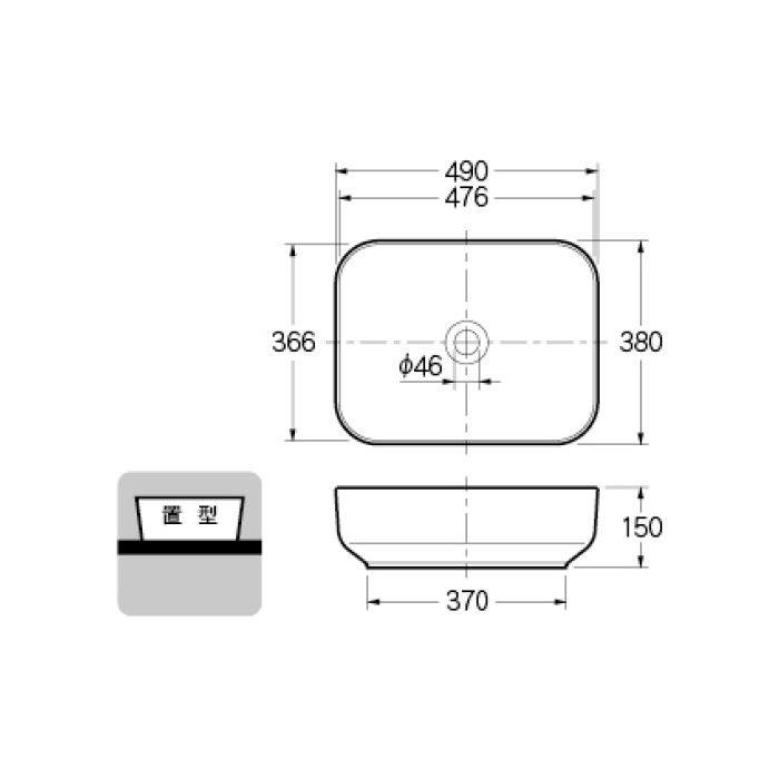 #CL-8745AC カウンター設置タイプ 角型洗面器