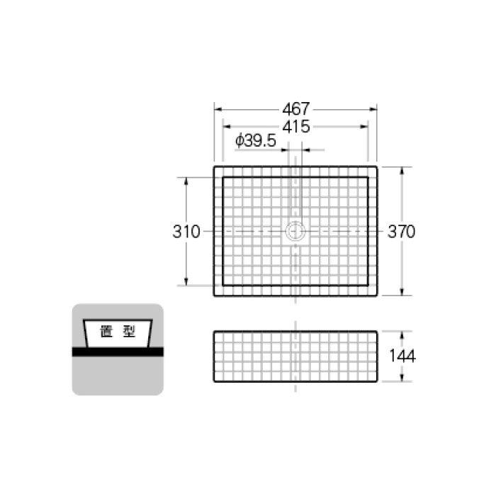 493-143-GB カウンター設置タイプ 角型洗面器 グレーブラウン