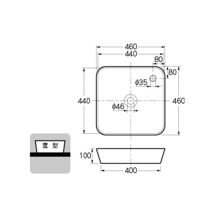 #DU-2322460000 カウンター設置タイプ 角型洗面器