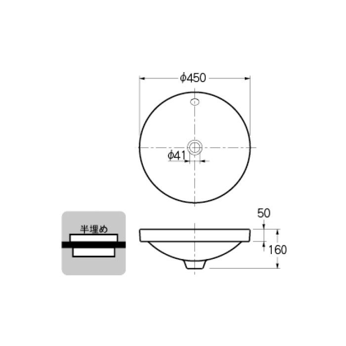 493-000 カウンター設置タイプ 丸型洗面器