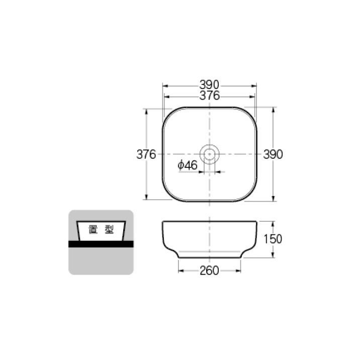 #CL-8744AC カウンター設置タイプ 角型洗面器
