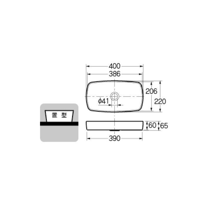 493-073-BR カウンター設置タイプ 角型手洗器 ショコラ