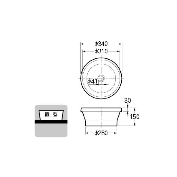 493-144-LD カウンター設置タイプ 丸型手洗器 アーモンド