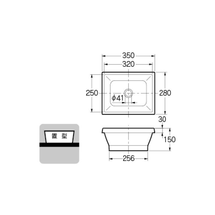 493-145-DD カウンター設置タイプ 角型手洗器 カカオ