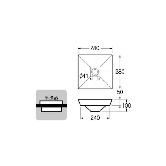 493-085 カウンター設置タイプ 角型手洗器