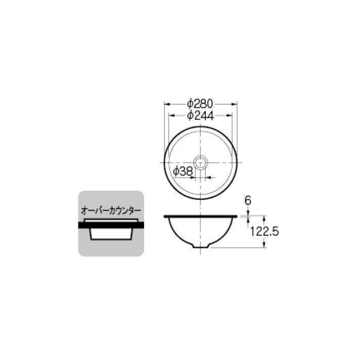 493-026-W カウンター設置タイプ 丸型手洗器 ホワイト