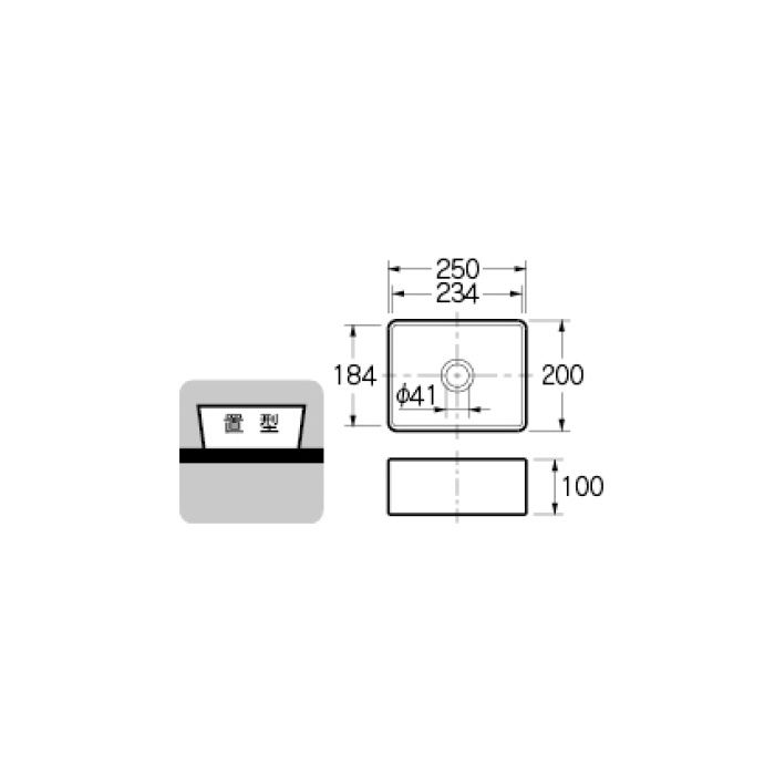 493-174-R カウンター設置タイプ 角型手洗器 レッド