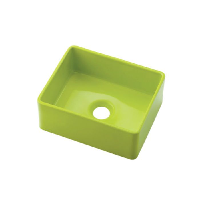 493-174-YG カウンター設置タイプ 角型手洗器 イエローグリーン