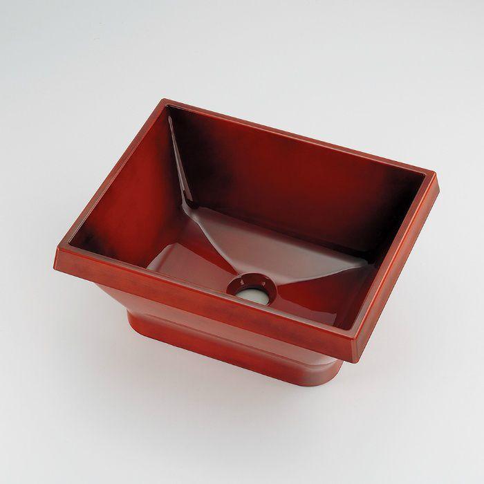 493-149-BR 和風 角型手洗器 栃杢
