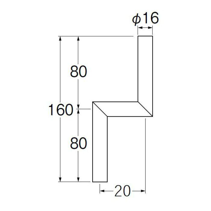 V90-65-20 小便Zパイプ 偏心寸法20mm