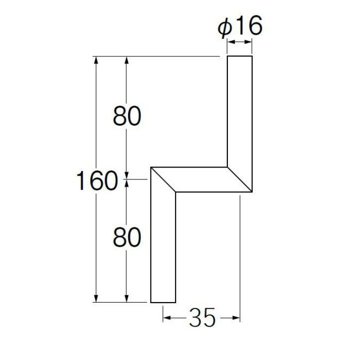V90-65-35 小便Zパイプ 偏心寸法35mm