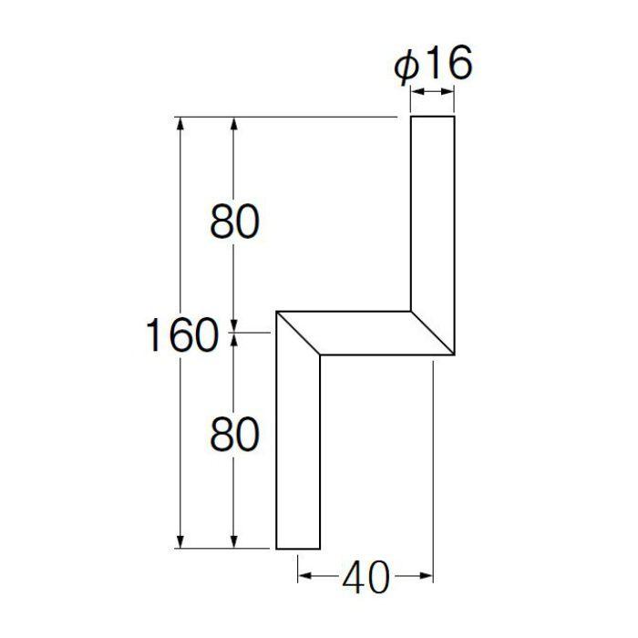V90-65-40 小便Zパイプ 偏心寸法40mm