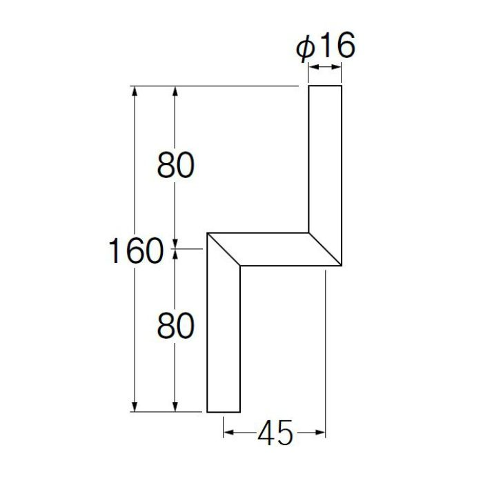 V90-65-45 小便Zパイプ 偏心寸法45mm