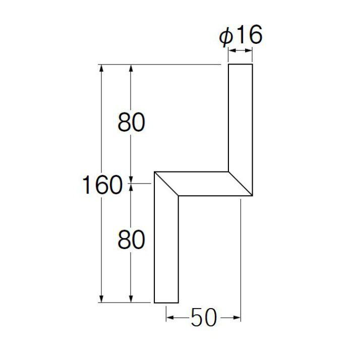 V90-65-50 小便Zパイプ 偏心寸法50mm