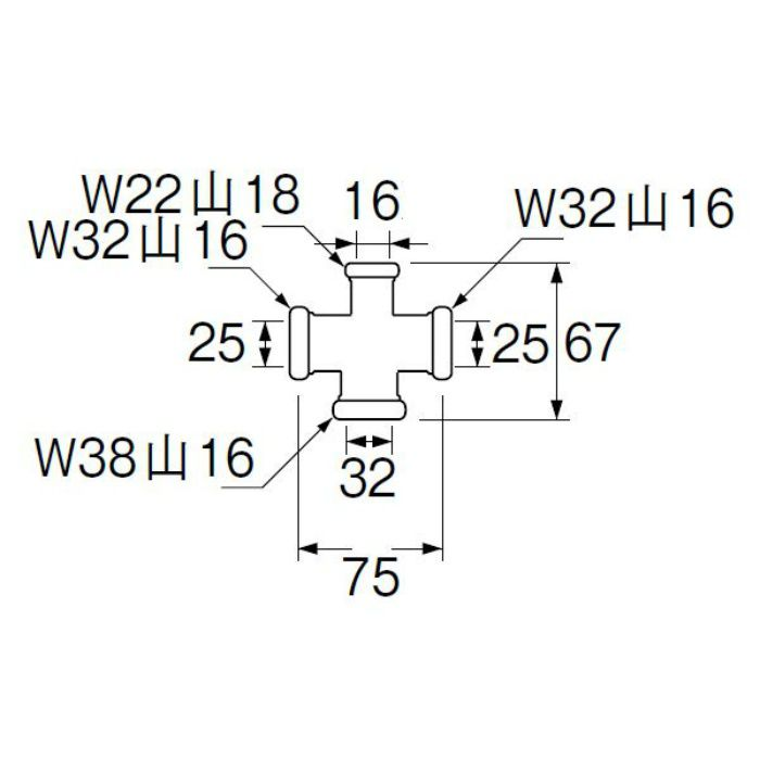 H80-44-16X25X25X32 洗浄管連結異径クロス