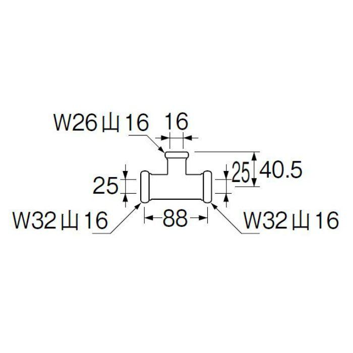 H80-46-16X25X25 洗浄管連結異径チーズ