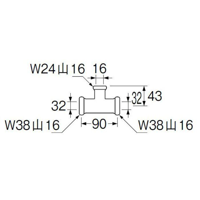 H80-46-16X32X32 洗浄管連結異径チーズ