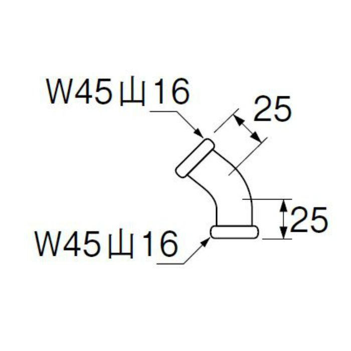 H81-4-45-38 洗浄管連結45゜エルボ