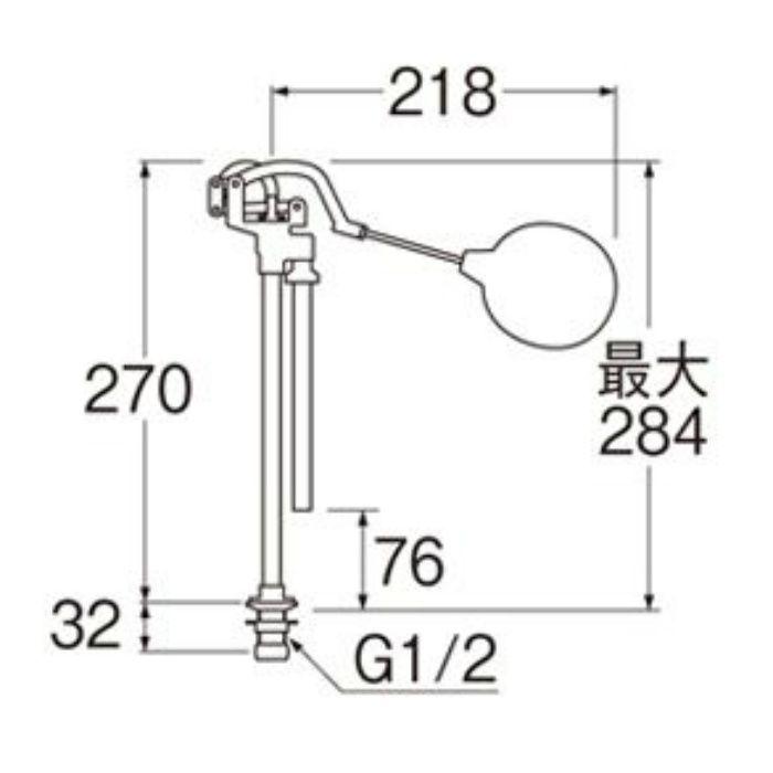 PV48-13 立形ロータンクボールタップ