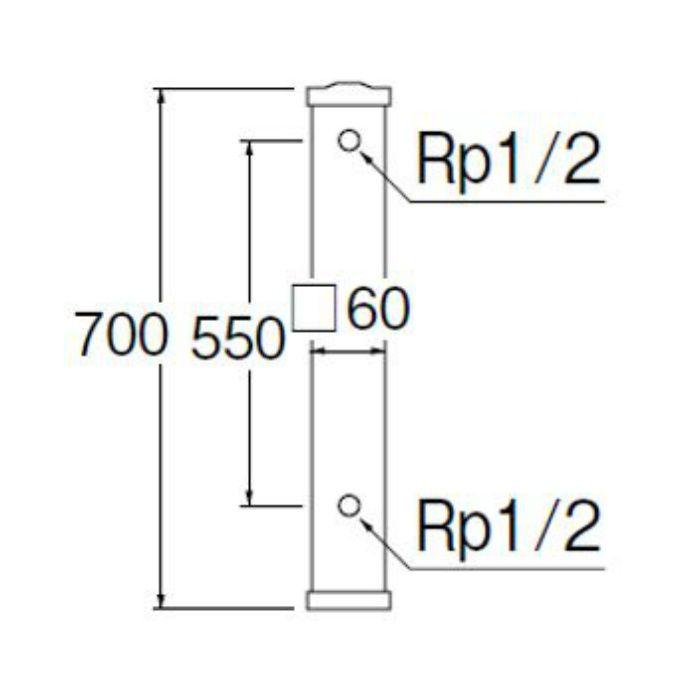 T800-60X700 ステンレス水栓柱 内部給水管:HIVP管