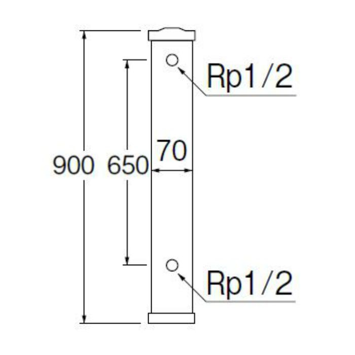 T801-70X900-I PC水栓柱 前給水 アイボリー