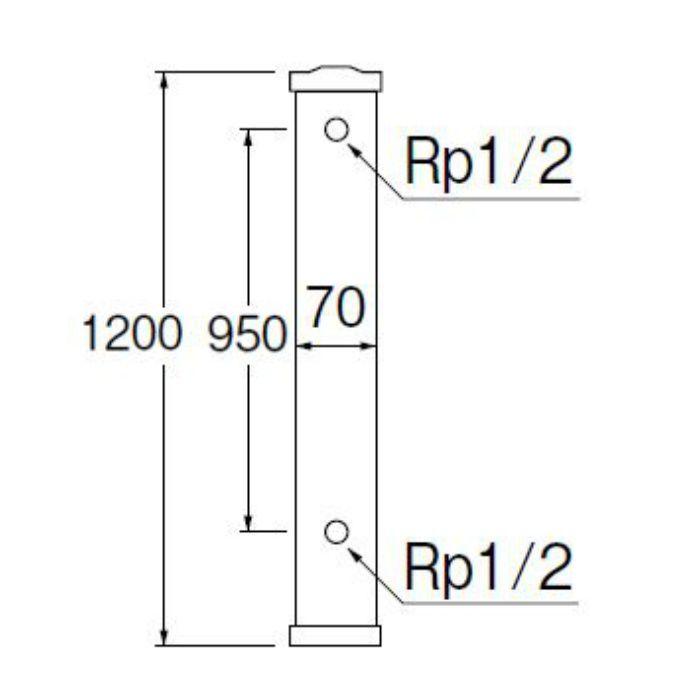 T801-70X1200-MI PC水栓柱 前給水 御影