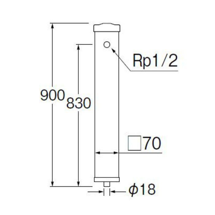 T8010-70X900-MI PC水栓柱 下給水 御影