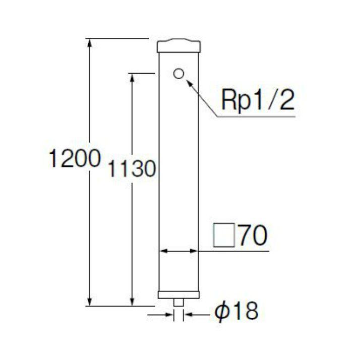 T8010-70X1200-MI PC水栓柱 下給水 御影