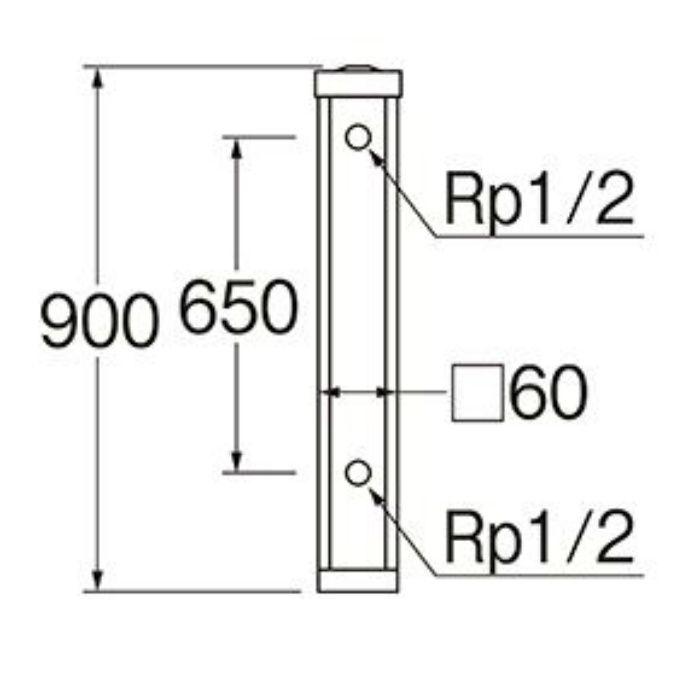 T803-60X900-LBR 木目調水栓柱 前面木目調ライトブラウン