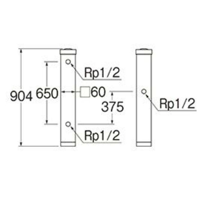 T803BW-60X900-LBR 木目調水栓柱 全面木目調ライトブラウン