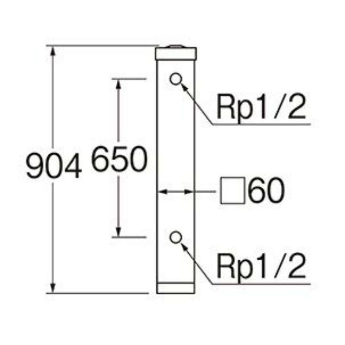 T803W-60X900-LBR 木目調水栓柱 全面木目調ライトブラウン