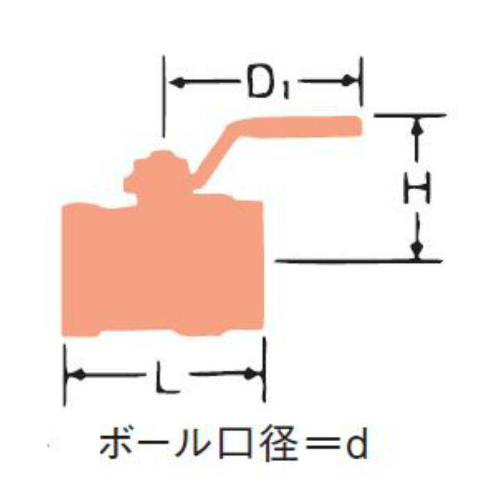 UMU SCS14 2ピース ボール弁【スタンダードボア・JV8-1適合】 25A